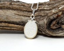 Load image into Gallery viewer, White Druzy Necklace in .925 Sterling Silver