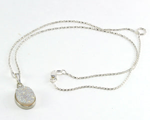 White Druzy Necklace in .925 Sterling Silver