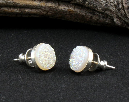 Druzy Stud Earrings in .925 Sterling Silver