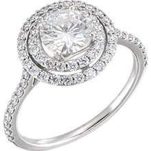 Load image into Gallery viewer, 14K White 6.5 mm Round Forever One™ Created Moissanite & 5/8 CTW Diamond Ring
