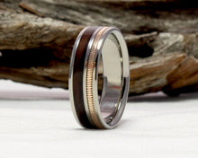 Load image into Gallery viewer, Titanium Guitar String Ring with East Indian Rosewood and Guitar String Inlay