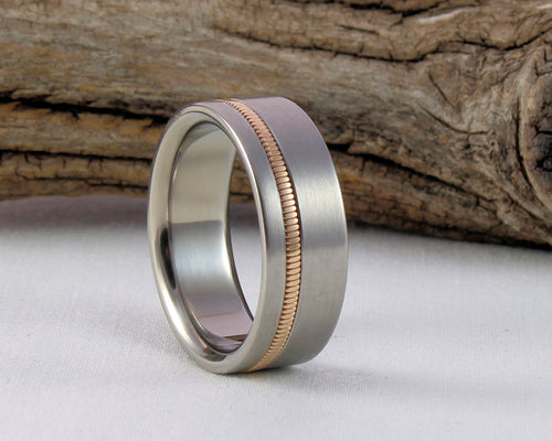 Titanium Guitar Ring with Phosphor Bronze String Inlay