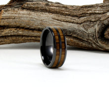 Load image into Gallery viewer, Black Ceramic Ring with Whiskey Barrel Wood Inlay. Genuine Wood From Jack Daniels Whiskey Barrel. Bourbon Ring. Whiskey Barrel Ring