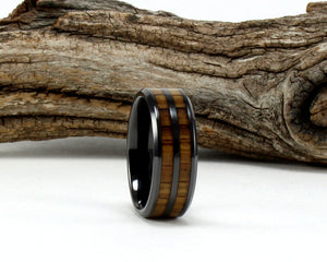 Black Ceramic Ring with Whiskey Barrel Wood Inlay. Genuine Wood From Jack Daniels Whiskey Barrel. Bourbon Ring. Whiskey Barrel Ring