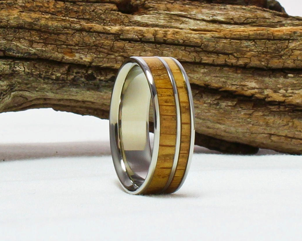 Titanium Ring with Whiskey Barrel wood