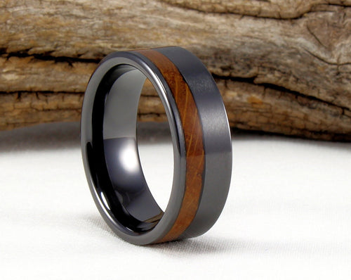 Black Ceramic Offset Ring with Whiskey Barrel Wood Inlay. Genuine Wood From Jack Daniels Whiskey Barrel. Bourbon Ring. Whiskey Barrel Ring