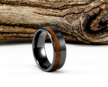 Load image into Gallery viewer, Black Ceramic Offset Ring with Whiskey Barrel Wood Inlay. Genuine Wood From Jack Daniels Whiskey Barrel. Bourbon Ring. Whiskey Barrel Ring