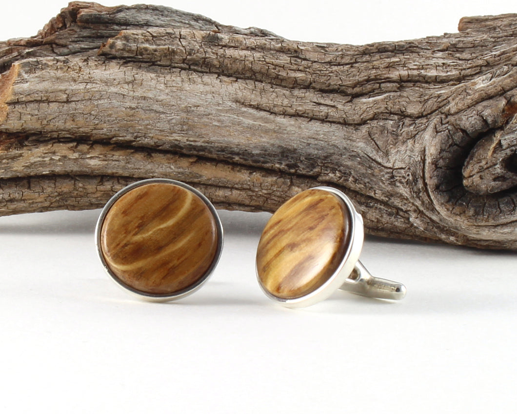 925 Sterling Silver Cuff Links with Jack Daniel's Whiskey Barrel Wood Inlay