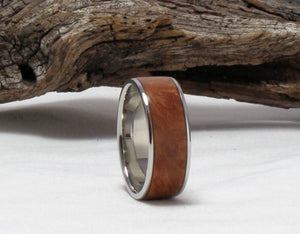 Titanium Ring with Maple Burl Inlay