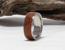 Load image into Gallery viewer, Titanium Ring with Maple Burl Inlay