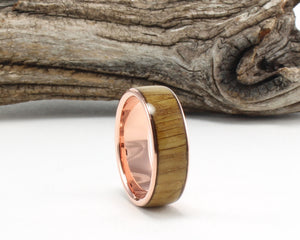 14K Rose Gold with Whiskey Barrel Wood Inlay