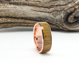 14K Rose Gold with Jack Daniel's Whiskey Barrel Wood Inlay