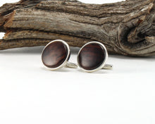 Load image into Gallery viewer, 925 Sterling Silver Cuff Links with East Indian Rose Wood Inlay
