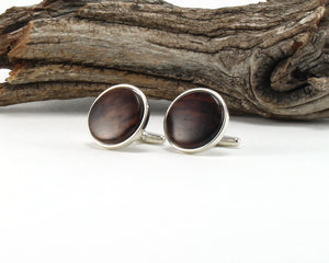 925 Sterling Silver Cuff Links with East Indian Rose Wood Inlay