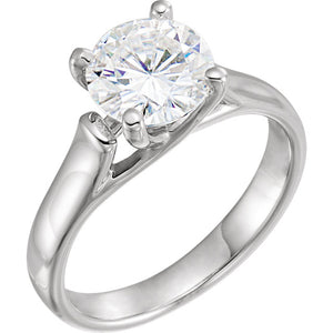 6.5 mm Round Forever One™ Created Moissanite Solitaire Engagement Ring