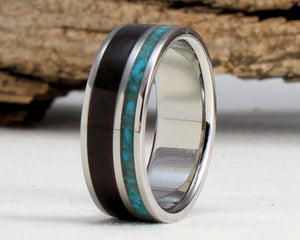 Titanium Ring with Turquoise and Ebony Inlay