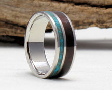 Load image into Gallery viewer, Titanium Ring with Turquoise and Ebony Inlay