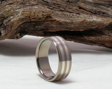 Load image into Gallery viewer, Titanium Sterling Silver inlay Ring, Titanium Silver Pinstripe