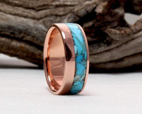 Copper Ring with Crushed Sleeping Beauty Turquoise Inlay