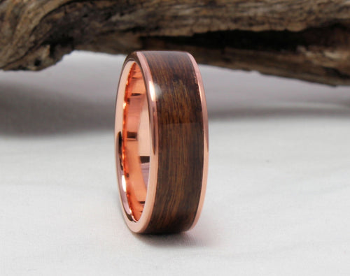 Copper Ring with Rosewood Inlay