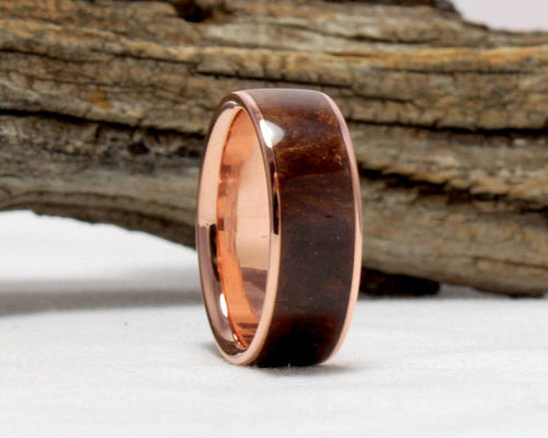 Copper Ring with Redwood Burl Inlay