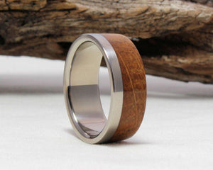 Men's Wedding Band with Whiskey Barrel Wood Inlay