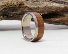 Load image into Gallery viewer, Men's Wedding Band with Whiskey Barrel Wood Inlay