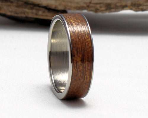 Titanium Ring with Sapele Wood Inlay