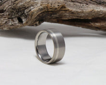 Load image into Gallery viewer, Titanium Band with Sterling Silver Pinstripe Brushed Finish