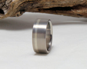 Titanium Band with Sterling Silver Pinstripe Brushed Finish