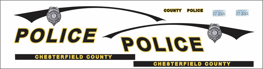 Chesterfield  County Virginia Police Vehicle GHOST Decals 1:24