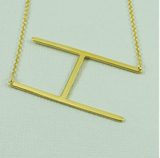 Sideways Gold Initial Necklace