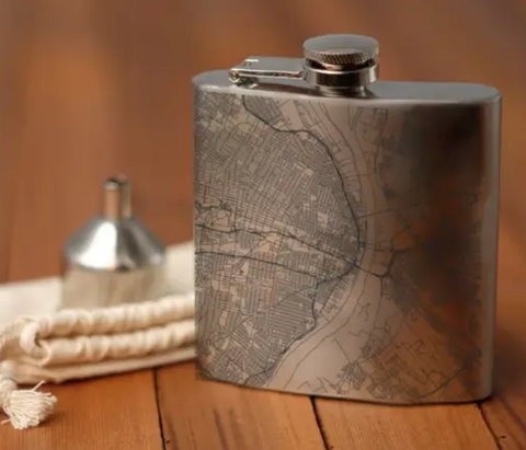 St. Louis Map Hip Flask