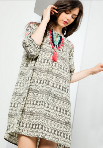 Printed Embroidered Dress with tassels