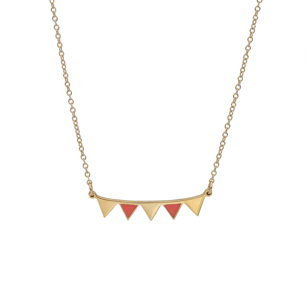 Virginie Millefiori Gold and Coral Bunting Necklace