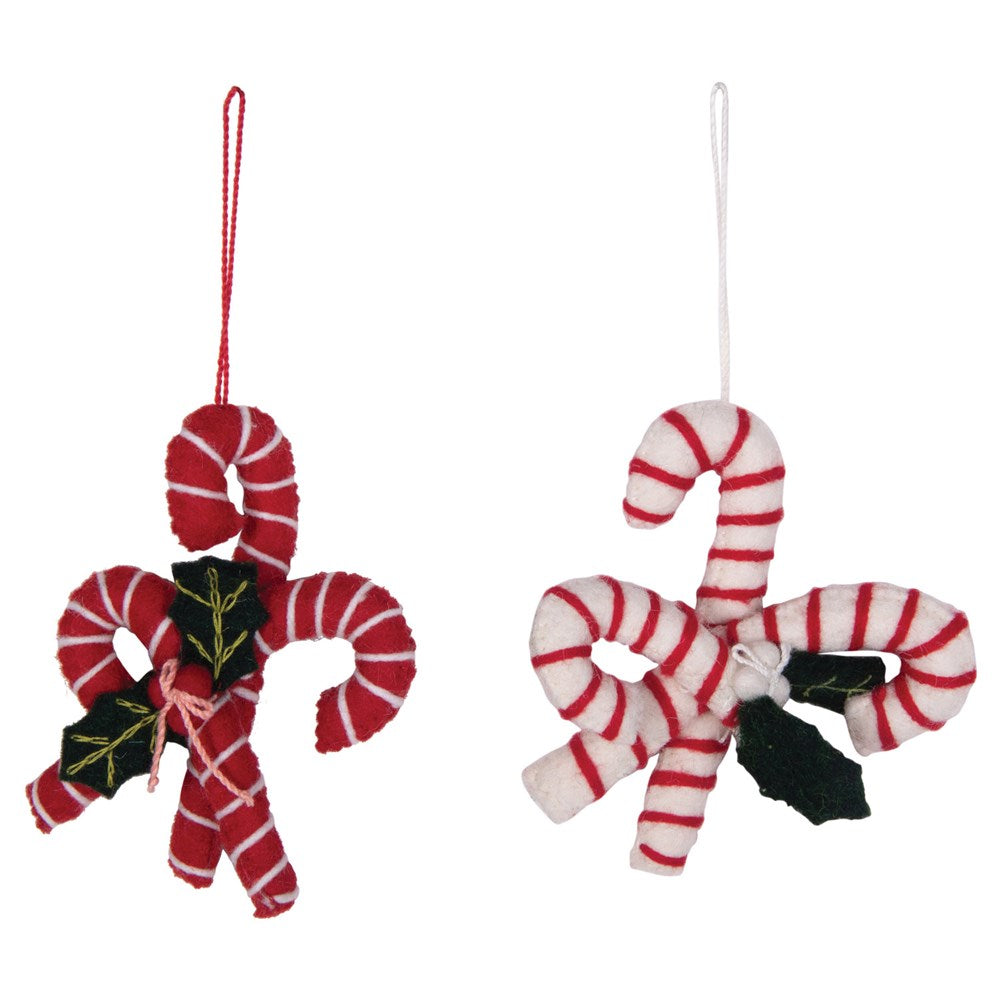 Wool Felt Candy Cane Embroidered Ornament, 2 Styles