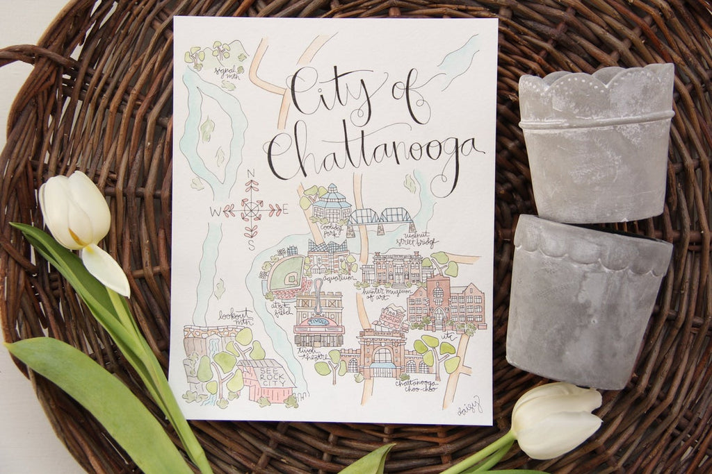 City of Chattanooga 8 x 10 Watercolor Map Art Print