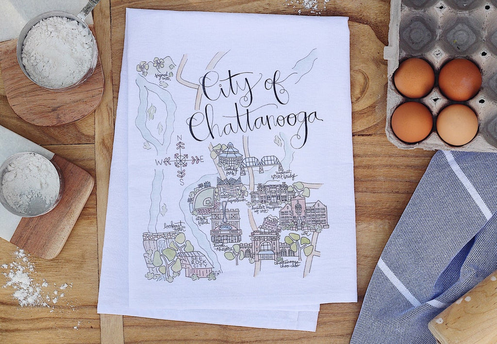 City of Chattanooga Watercolor Map Tea Towel