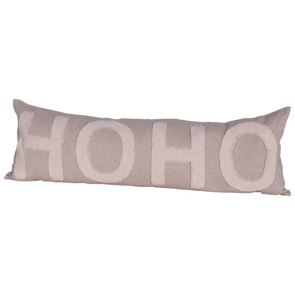 "Taupe & Cream Cotton Chambray ""Ho Ho"" Lumbar Pillow"