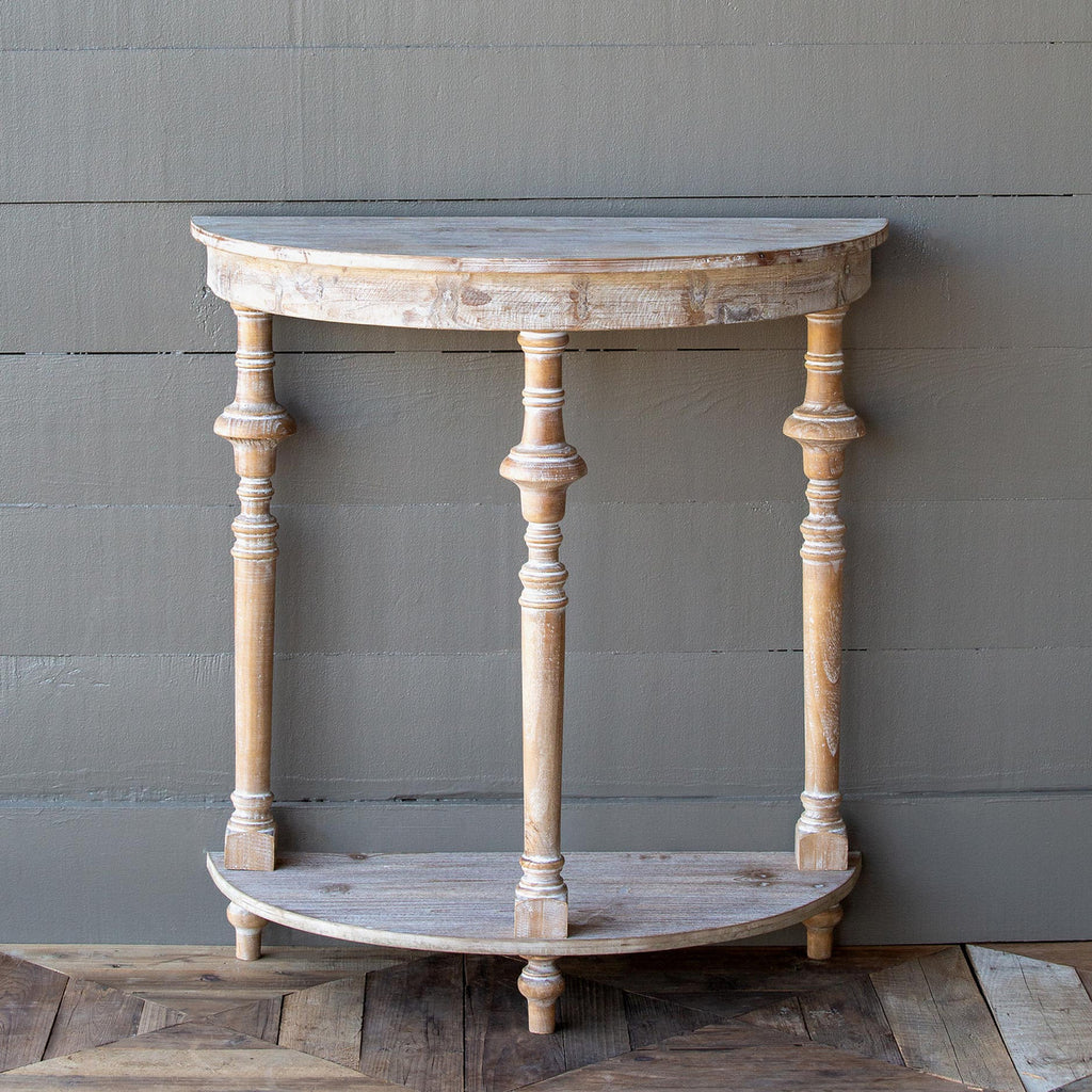 White Washed Demi Lune Table