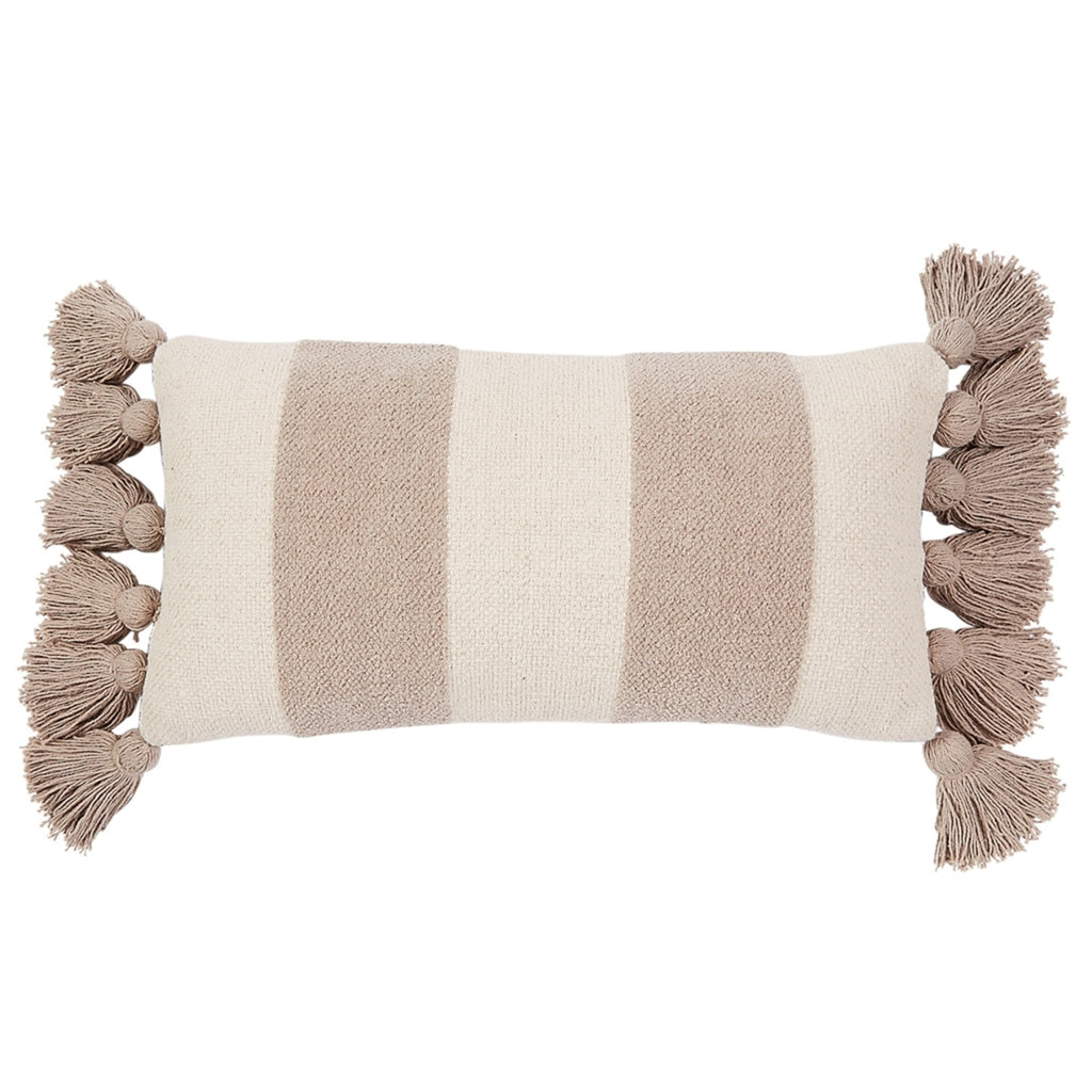 Gray Stripe Lumbar Tassel Pillow