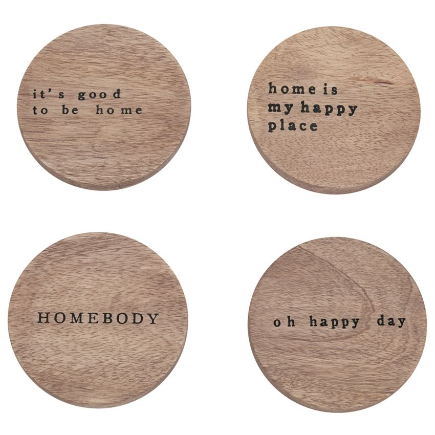 Happy Home Wood Coasters, Set of 4