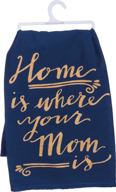 Home is Where Your Mom Is Tea Towel, Navy Blue