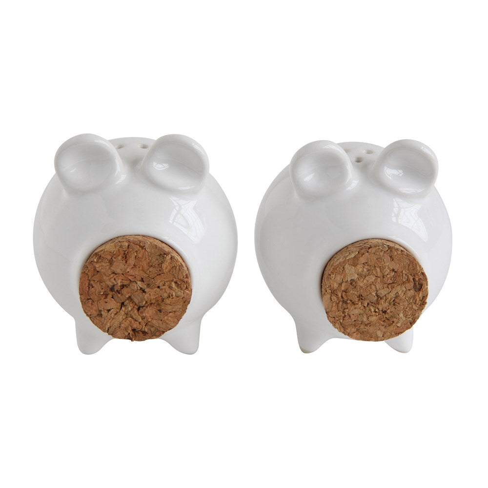 White Stoneware Pig Salt & Pepper Shakers with Corks
