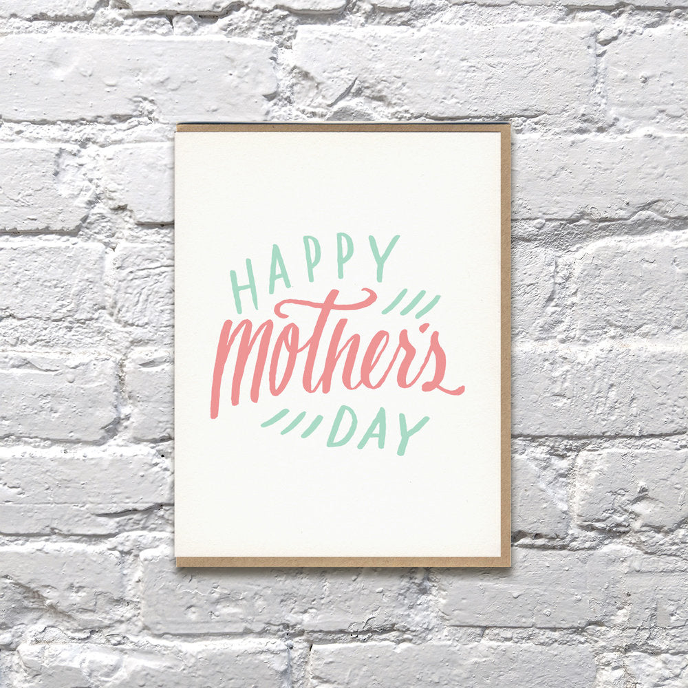 Happy Mother's Day Pink & Green Letterpress Card