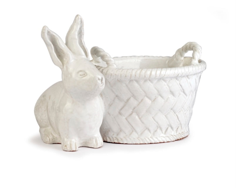 Stoneware Rabbit with Oblong Pot