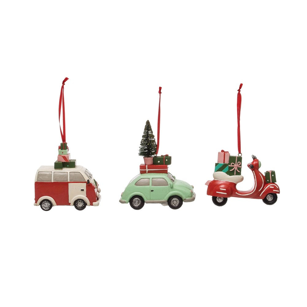 Vehicle with Presents Ornament, 3 Styles