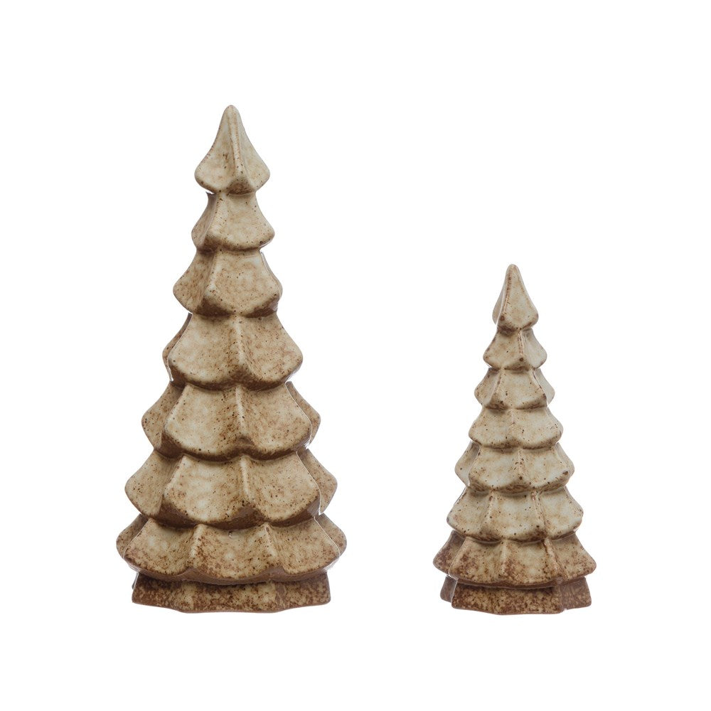 Stoneware Christmas Tree with Brown Reactive Glaze, 2 Sizes