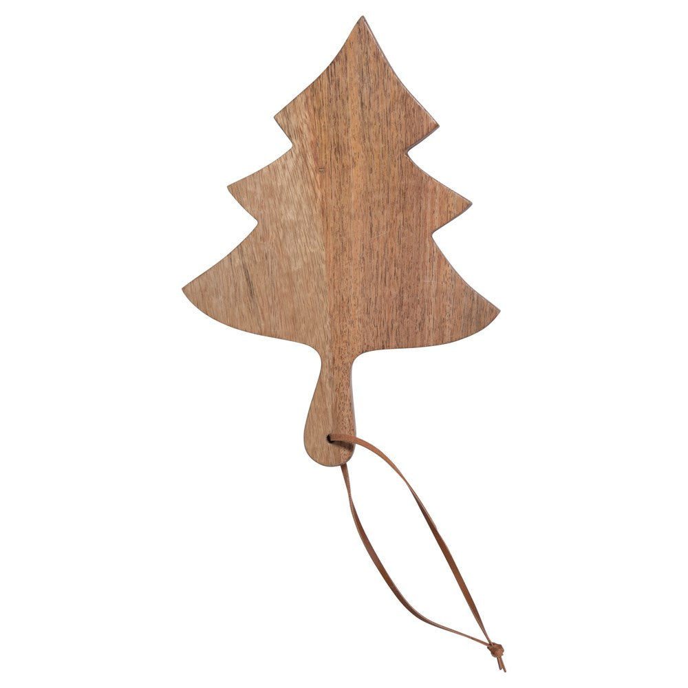 Mango Wood Christmas Tree Cutting/ Cheese Board with Leather Tie