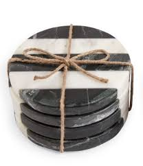 Black & White Stripe Marble Coaster Set